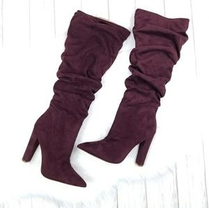 OLIVIA JAYMES Wine Microsuede Slouch Boots sz 11